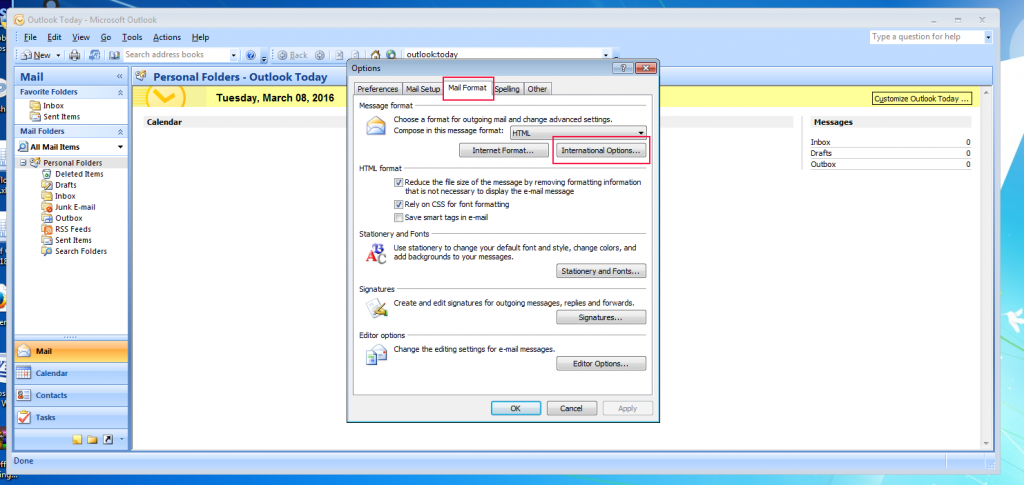 [outlook 2007 - change encoding to utf8 - pic1]
