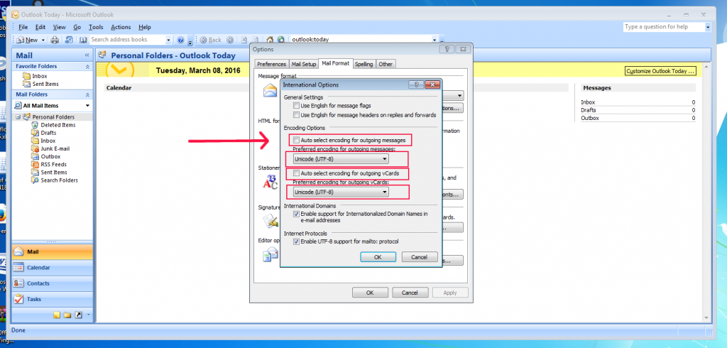 [outlook 2007 - change encoding to utf8 - pic2]